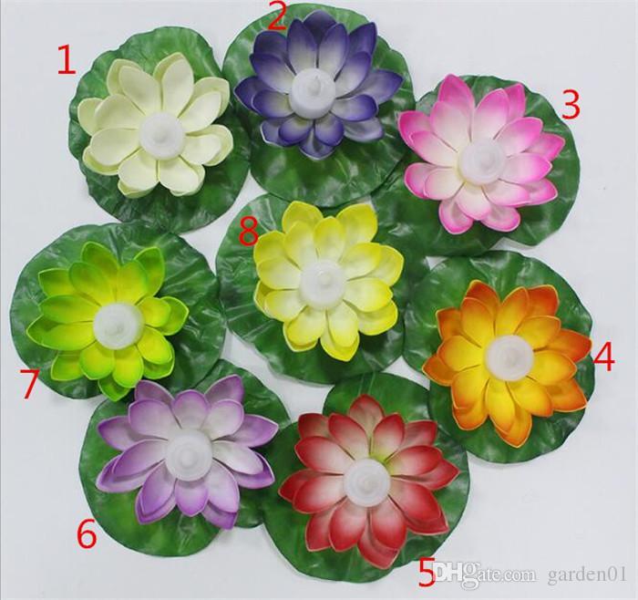 Artificielle LED Flottant Lotus Fleur Bougie Lampe Avec Coloré Changé Lumières Pour Les Fêtes De Mariage Décorations Fournitures G083