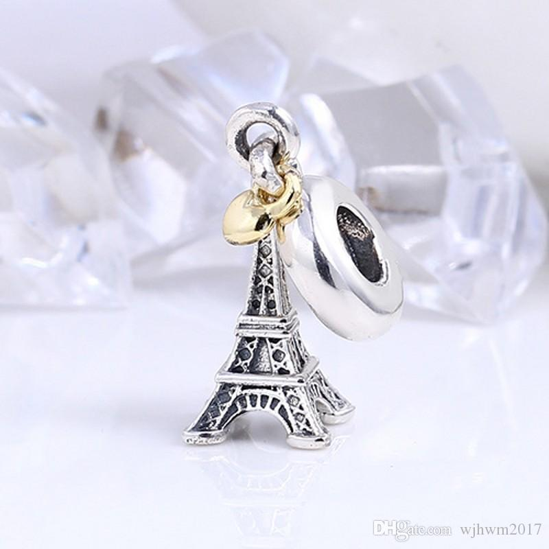 Light Yellow Gold Color Heart Eiffel Tower Charms Pendants Vintage 925 Sterling Silver Charm Beads DIY Brand Bracelets Jewelry Accessories