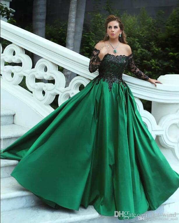 Said Mhmad Dark Green A Line Satin Long Prom Dresses 2018 Off the Shoulder Long Sleeves Black Lace Sequins Top Formal Evening Gowns