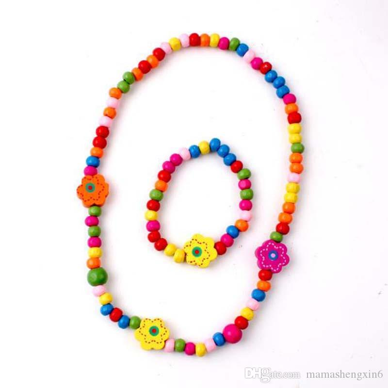 Children Kids Accessories Colorful Beads Necklaces Princess Wooden ...