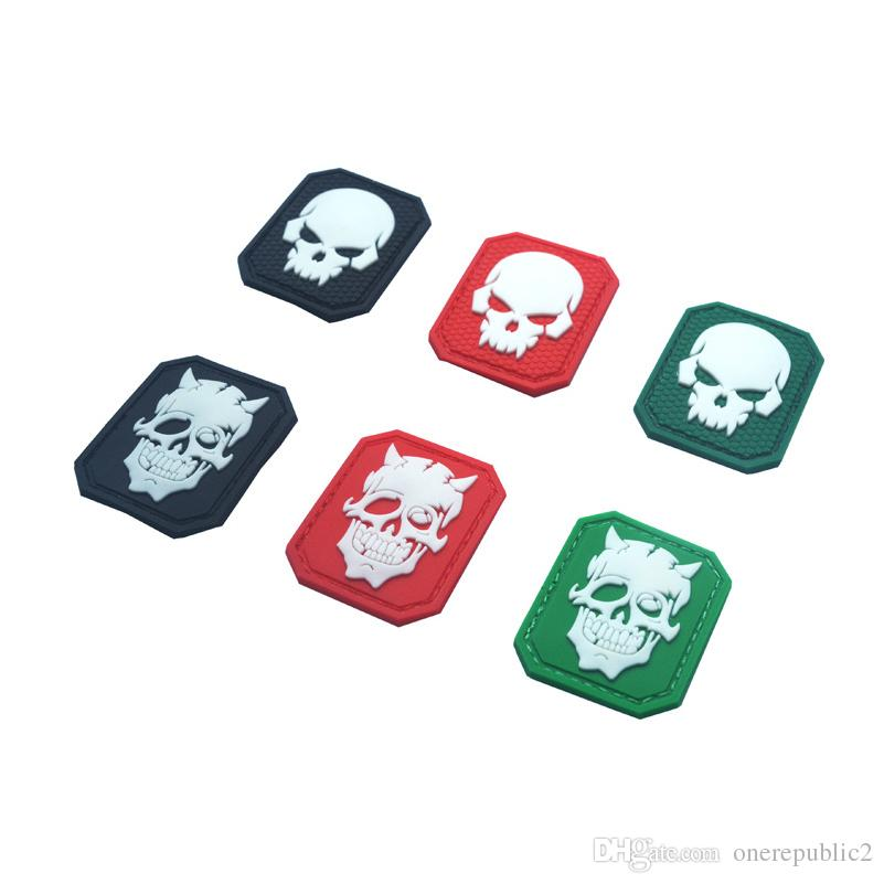 Glow In Dark Skull Tactical Morale Patch Emblem Hook & Loop Army PVC Badge Morale Rubber Patch Appliques free ship