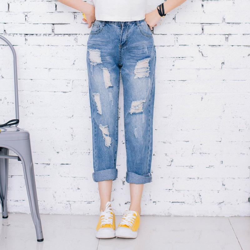 2017 Wholesale Hot Sale Women'S Loose Ripped Jeans Fashion ...