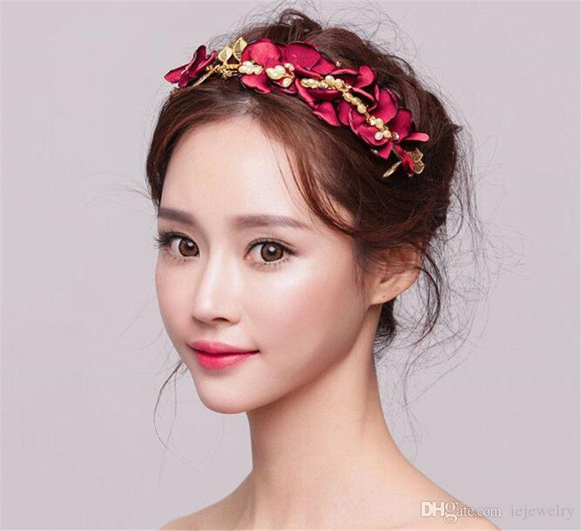 bfd513b8f 2019 Wedding Bridal Red Rose Flower Headband Crown Tiara Pearl Hair  Accessories Band Headpiece Jewelry Pearl Prom Headdress Wholesale Cheap  From Iejewelry, ...