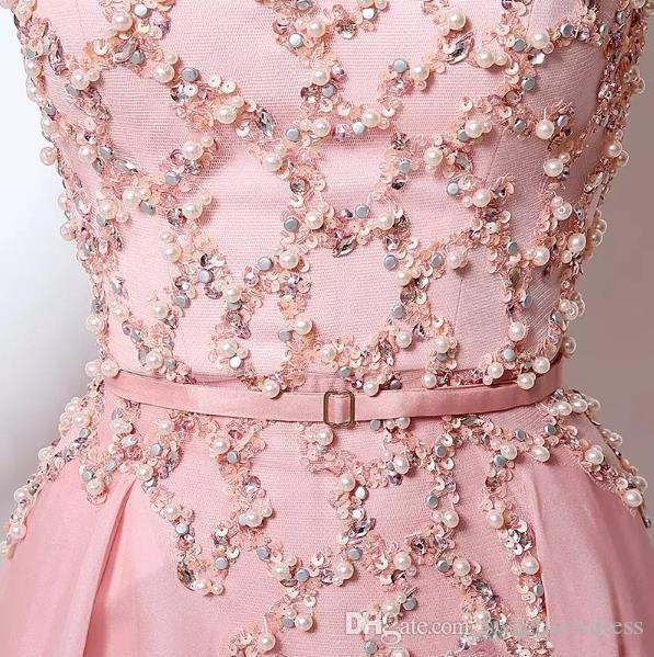 Light Pink Beaded Sequins A-Line Evening Dresses Scoop Long Sleeve Sweep Train Chiffon Prom Quinceanera Dresses