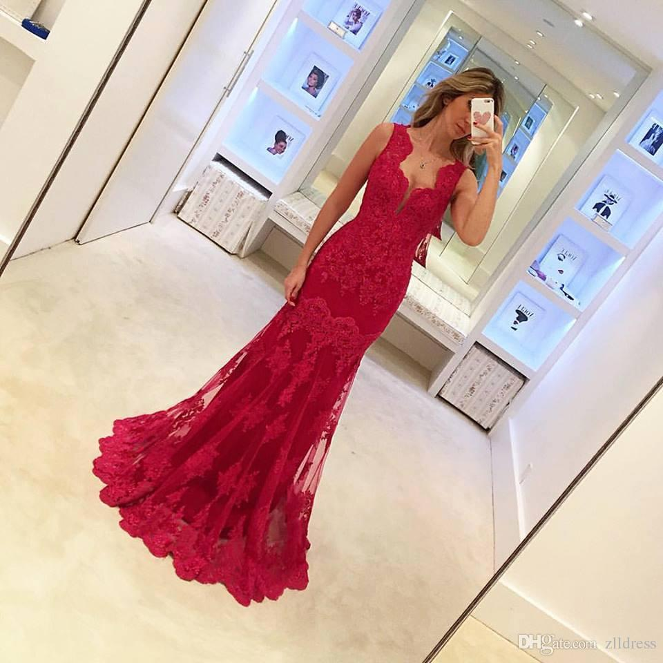 2017 Mermaid Evening Dresses Red Lace Sexy Deep V-neck Long Prom Party Gowns China Night Gown Designs