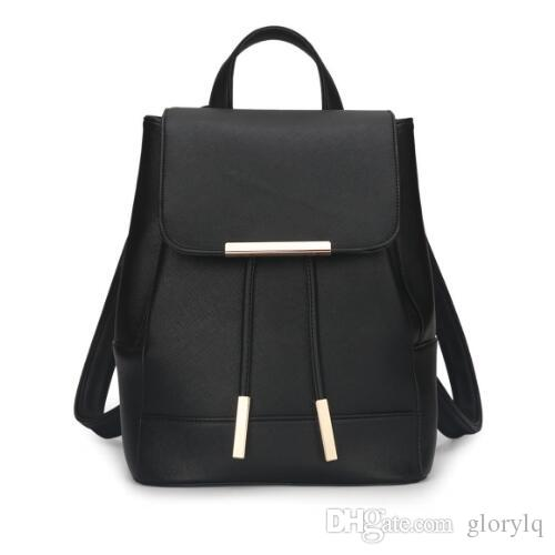 High Quality Fashion Black PU Korean Style Backpacks Girls Women ...