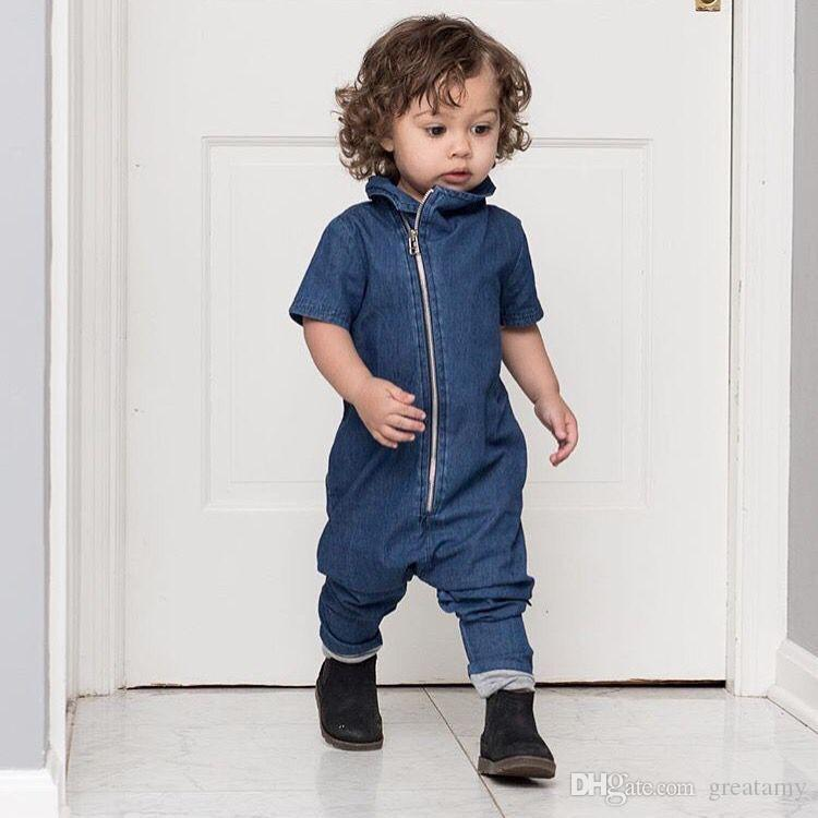 129bd18d0377 Fashion Summer Romper Infant Clothes For Baby Blue Denim Jumpsuit ...