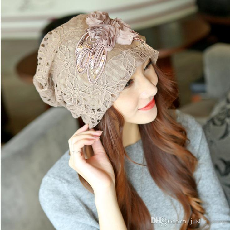 New Fashion Lace Double layer Female Hats Casual Style Cap Elegant Spring and Autumn Vintage Beanies warm hats for Women