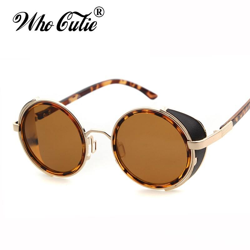 d5ca0c8362 Brand Designer Gothic Sunglasses Vintage Retro Leather Round ...