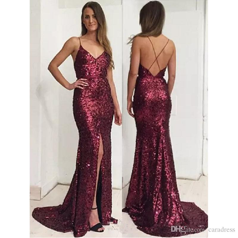 2017 Sparky Burgundy Sequined Prom Evening Dress Spaghetti Straps ...