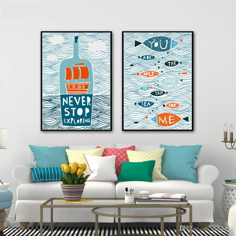 2017 abstract canvas painting nordic fish sailing letter wall art