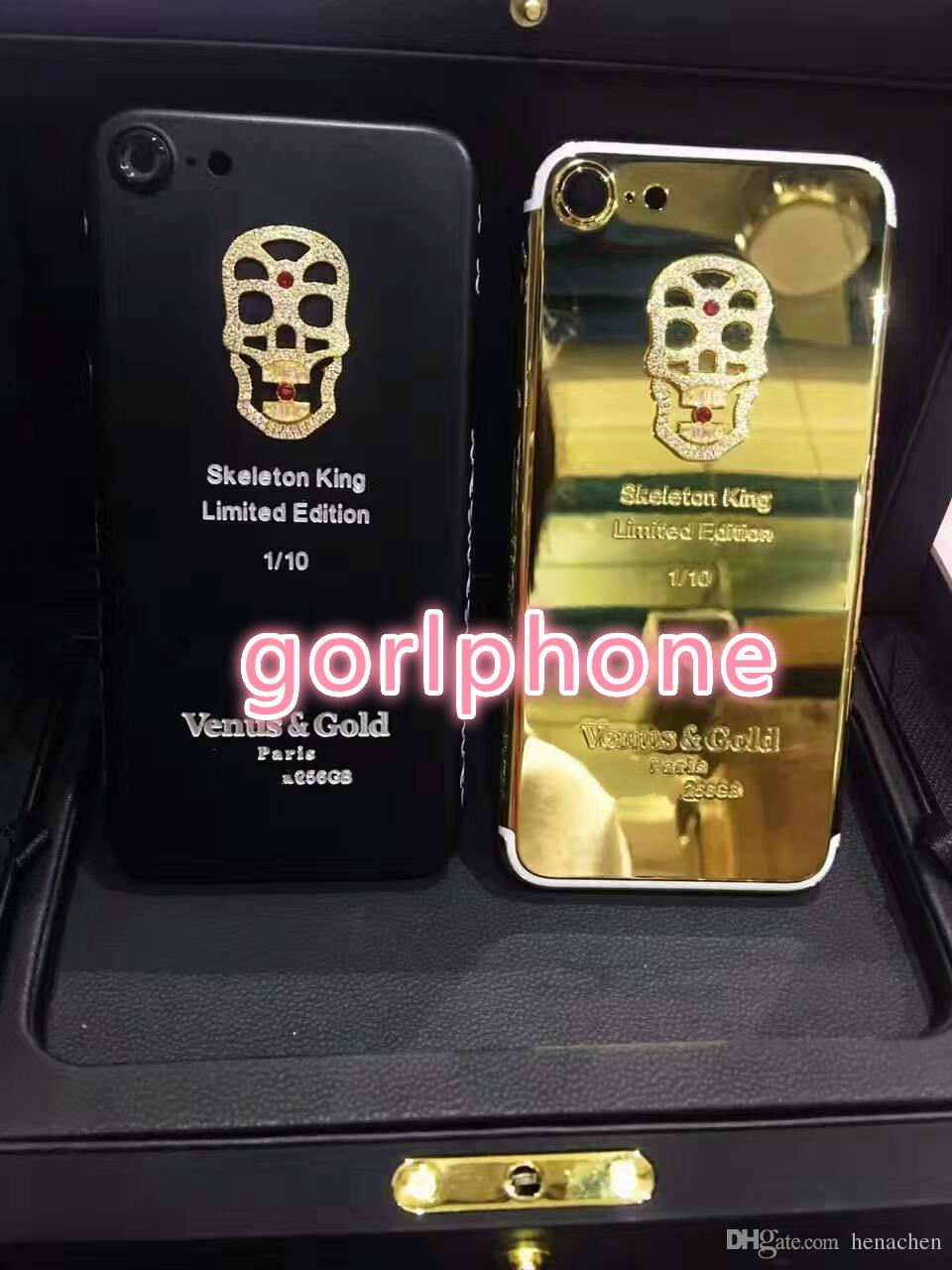Real Gold skeletonPlating Back Housing Cover Skin Battery Door For iPhone 7 7+ Compatible Brand and Bar Design Customization for iphone 7 24