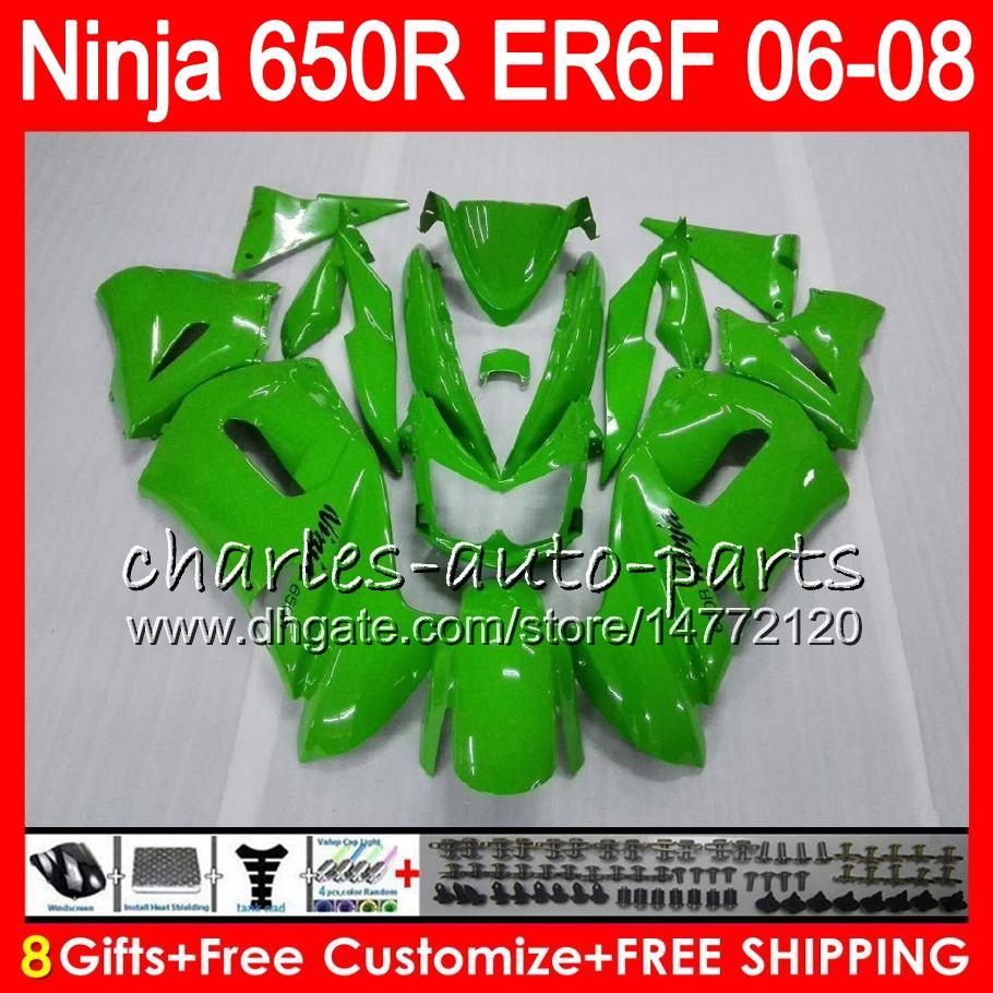 vert brillant 8Gifts Body Pour KAWASAKI NINJA 650R ER6F 06 07 08 Ninja650R 20HM2 ER 6F 06-08 ER6 F ER-6F 2006 2007 2008 Kit de carénage