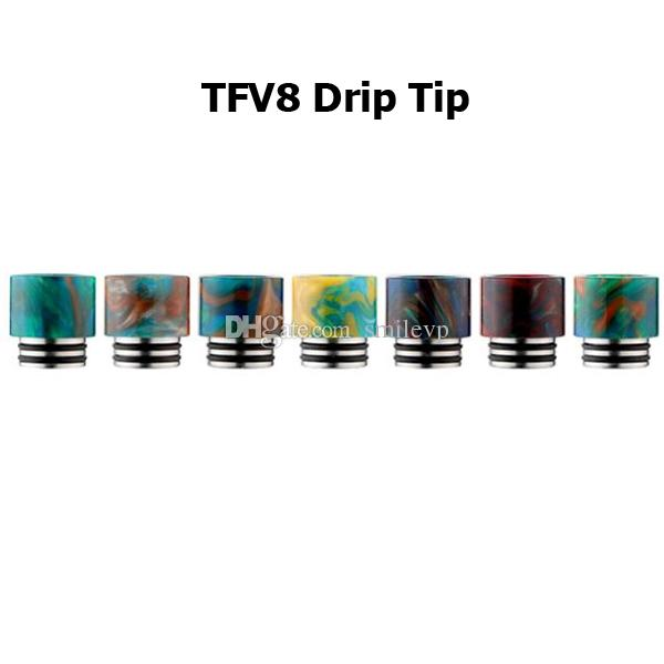 Epoxy Resin TFV8 drip tips Wide Bore drip tips for tfv8 and tfv8 big baby TFV12 tank with single Acrylic box DHL free