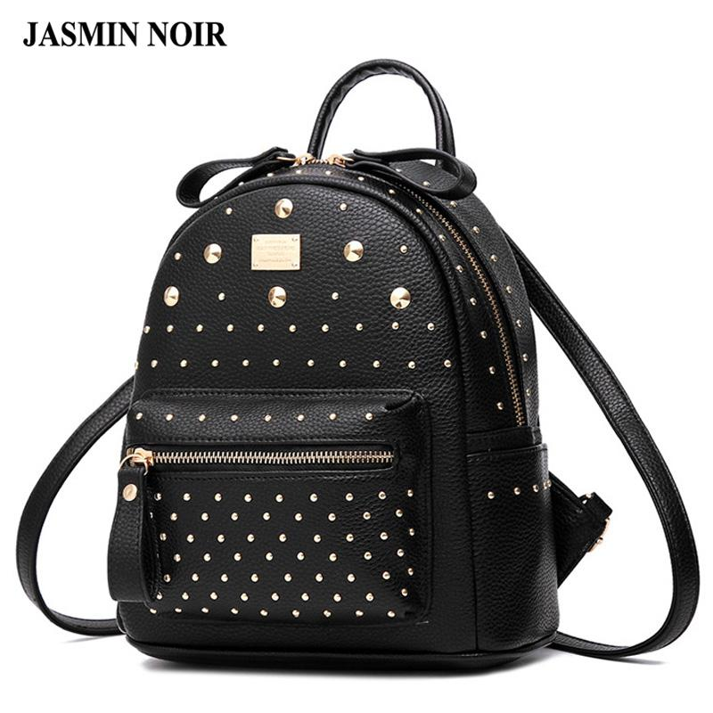 Wholesale Women Backpack 2016 New Fashion Rivets High Quality Leather Small Backpack  School Bag For Teenages Girls Brand Designer Back Bag College Backpacks ... 3a9eb3977cd05