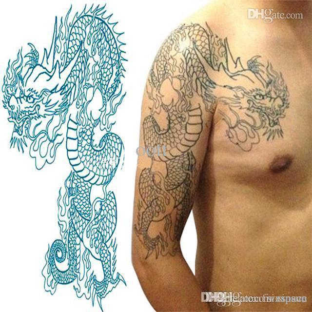 Wholesale dragon temporary tattoo large blue half shoulder for Wholesale temporary tattoos