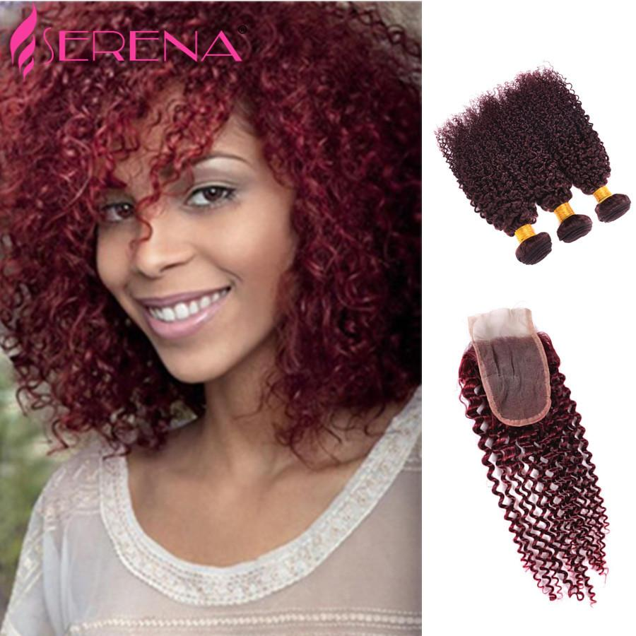 '99J Burgonya Perulu Kinky Kıvırcık İnsan Saç Paketler Kinky Kıvırcık Bakire Saç Uzantıları Perulu örgüleri 10 örgü kırmızı şarap saç' - 30 ''