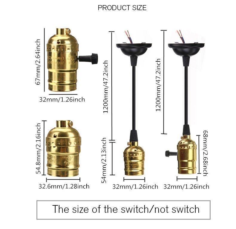 Mising E27 Edison Vintage Retro Lamp Base Holder Pendant Bulb Light Screw Socket With Switch/No Switch 110V-220V