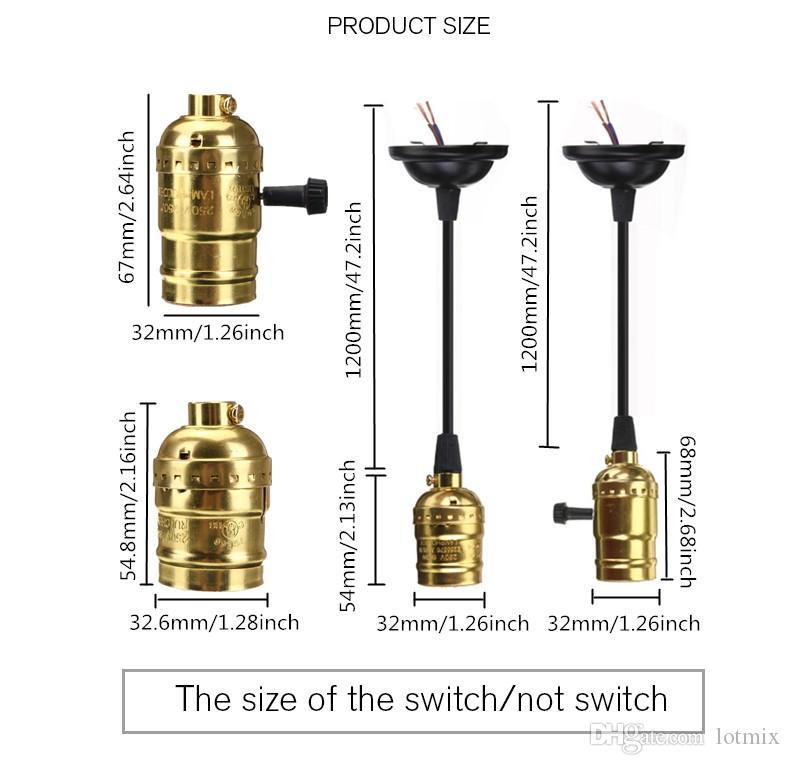 Yanlış E27 Edison Vintage Retro Lamba Baz Tutucu Kolye Ampul Işık Vida Soket Anahtarı ile 4 Renkler / Hayır Anahtarı 110 V-220V