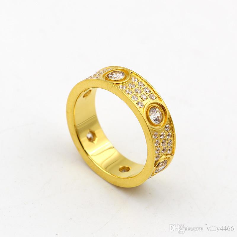 2017 En Kaliteli 316L Titanyum çelik Aşk yüzükler severler Band Yüzükler Boyutu Kadınlar ve Erkekler için üç satır ile 6mm genişlik elmas Takı