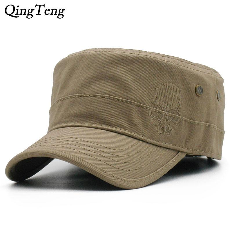 a78ba387c Men Baseball Caps Skull Embroidered Logo Flat Top Hats Cotton Snapback Flat  Cap Army Cadet Hat Women Gorros Hombre Hip Hop Black Baseball Cap Army Cap  From ...