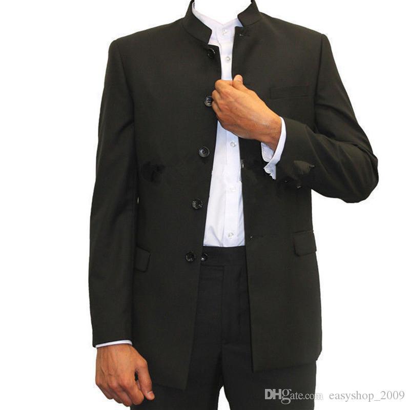 51f30ba92dd Acheter Nouveau 2018 Costumes Hommes Blazers Pièce Mao Costume Tunique  Chinoise Slim Fit Style Décontracté Formelle Costume De Mariage De  110.66  Du ...