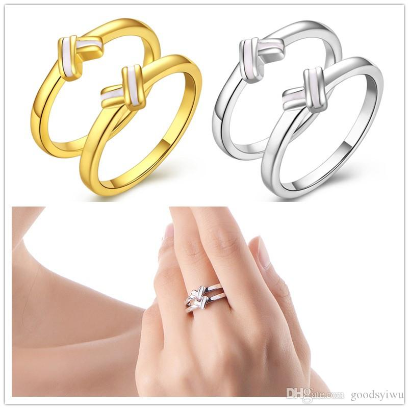 94c6bd756f91d Simple Smooth Vintage Round Elegant Finger Ring set Gold Plated Fashion  Brand heart Fine jewelry ring For Women 2pcs/set R435