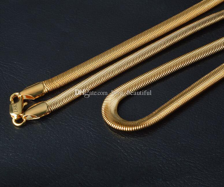 2017 new fashion Man woman 18K gold necklace 6MM*20 INCH flat snake chain Couples Necklace