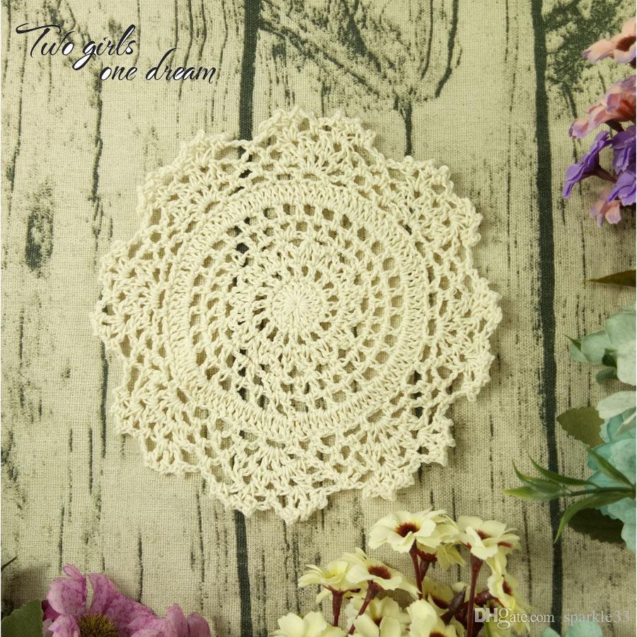 Vintage DIY Multicolor 16cm Flowers Coaster Handmade Crochet Doilies Wedding Table Decor Cup Pad Props Placemat