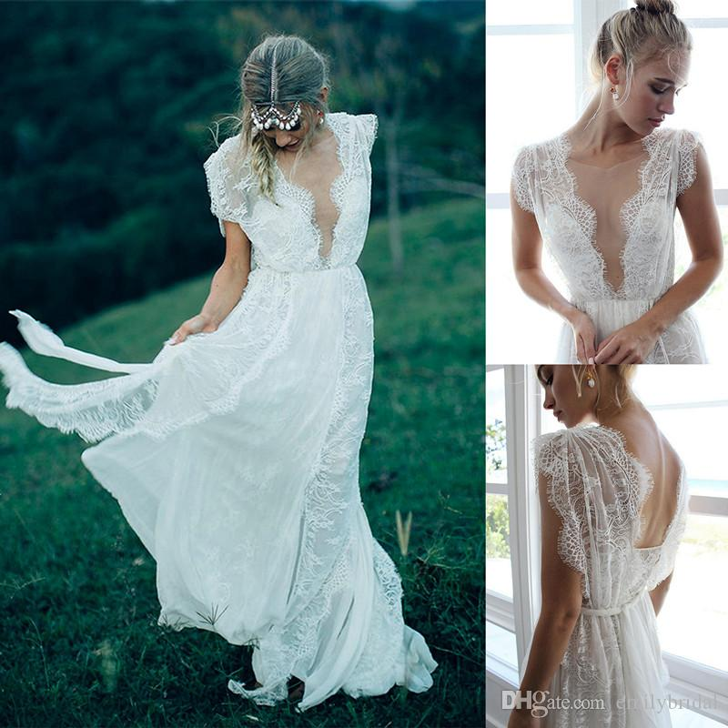 Discount Greece Bohomian Lace Wedding Dress Cheap Country Sheer Neck ...