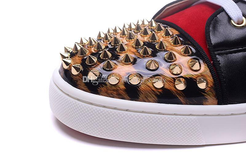 Kırmızı Alt Sneakers Lüks Parti Düğün Ayakkabı, Tasarımcı Hakiki Deri Kırmızı Süet Spike Leopar Baskı daireler için flats eğitmenler womens