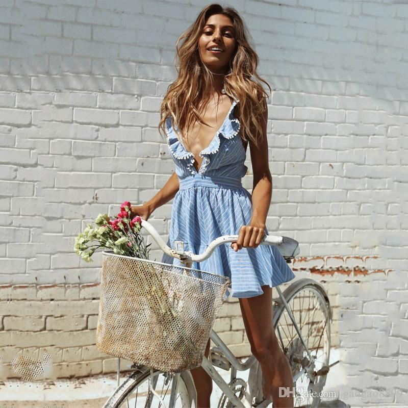 2019 Sexy Short Light Blue Women A Line Cocktail Dresses Criss Cross Backless Striped Summer Beach Clothes Short Party Holiday Gowns DTJ