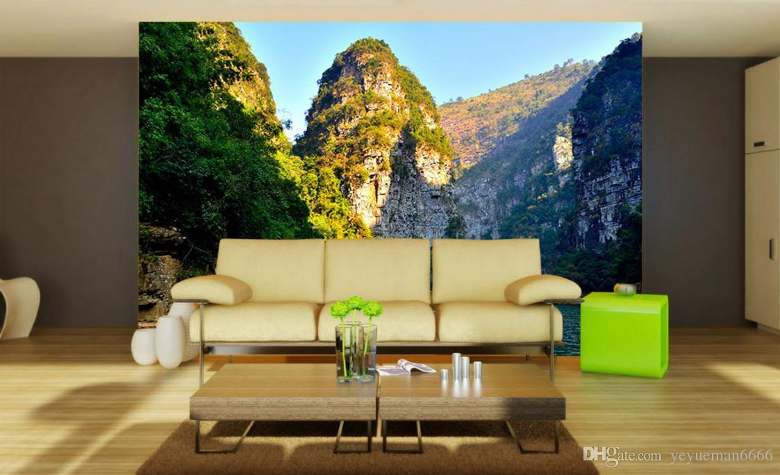 3D Landscape Wallpaper Murals Lake and mountains Wallpaper Modern Living Room Background Wall Decoration Painting