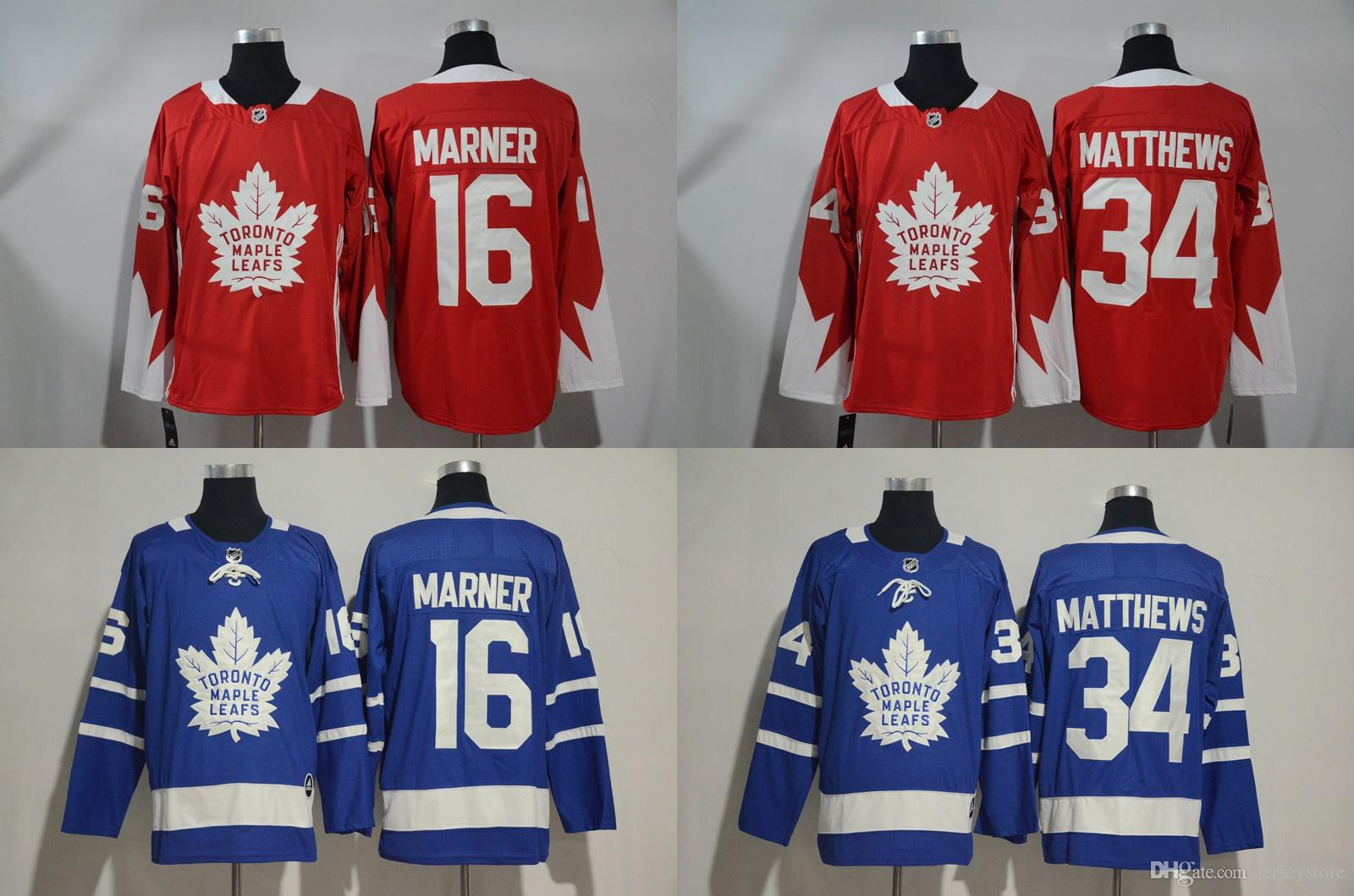 3f159d9de 2019 New 2017 18 Toronto Maple Leafs  34 Auston Matthews Jerseys  16  Mitchell Marner Ice Hockey Jerseys Red Blue Best Stitched Embroideried From  Jerseystore ...