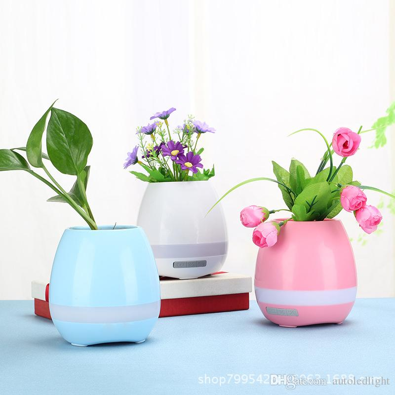 2018 Creative Smart Bluetooth Speaker Music Flower Pots With Light