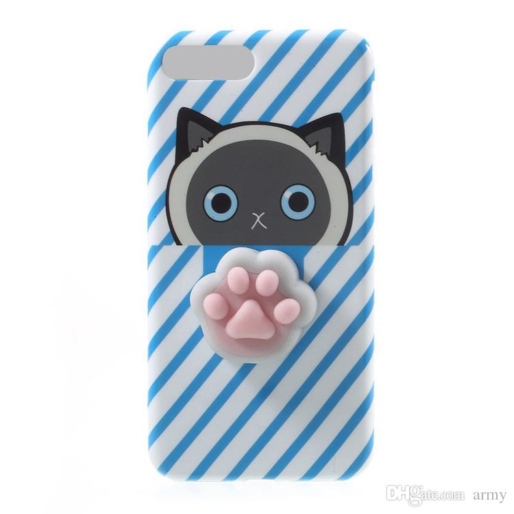 3D Cat Squishy Phone Bag Case Capa Soft Squeeze Toys Back Cover Stress Relieve Shell