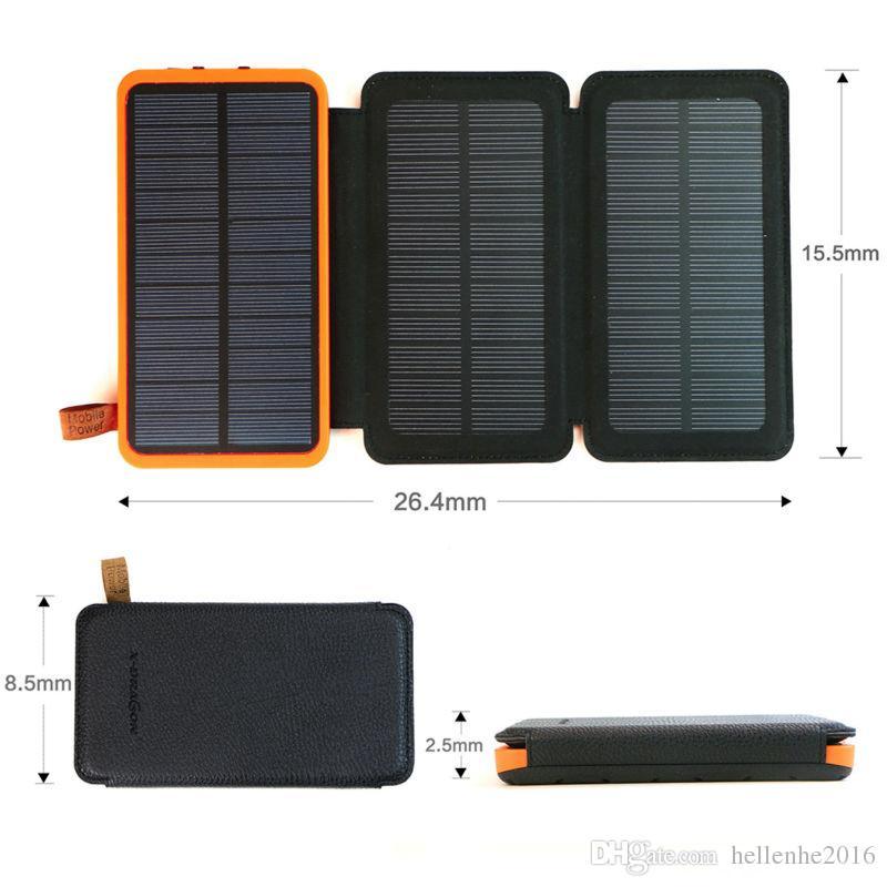 아이폰 삼성 HTC 소니 LG위한 휴대용 태양 전원 은행 20000mAh 충전식 외장 배터리 접이식 4W 태양 전지 패널 전화 충전기