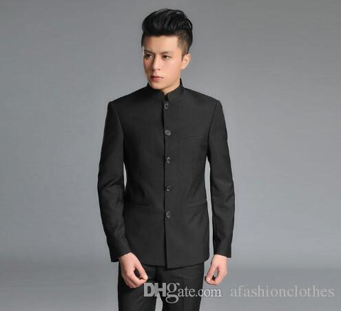 b80db60668c 2019 2017 New Arrival Slim Men Chinese Tunic Suit Set With Pants Mens Suits  Wedding Groom Formal Dress Suit Business Black Fashion From  Afashionclothes