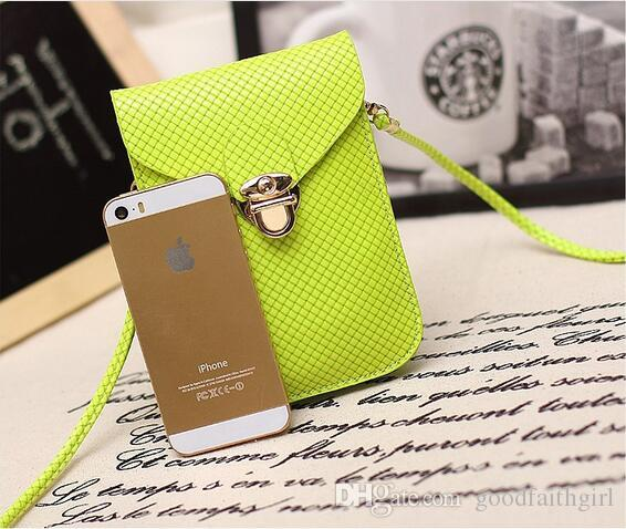 PU Leather Mini Cross-body Messenger Bags wallet Purse Shoulder Bag Mobile Phone pouch Cover Button clutch handbag