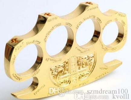 BRASS KNUCKLE DUSTERS GOLD Powerful damage safety equipment, self-defense,