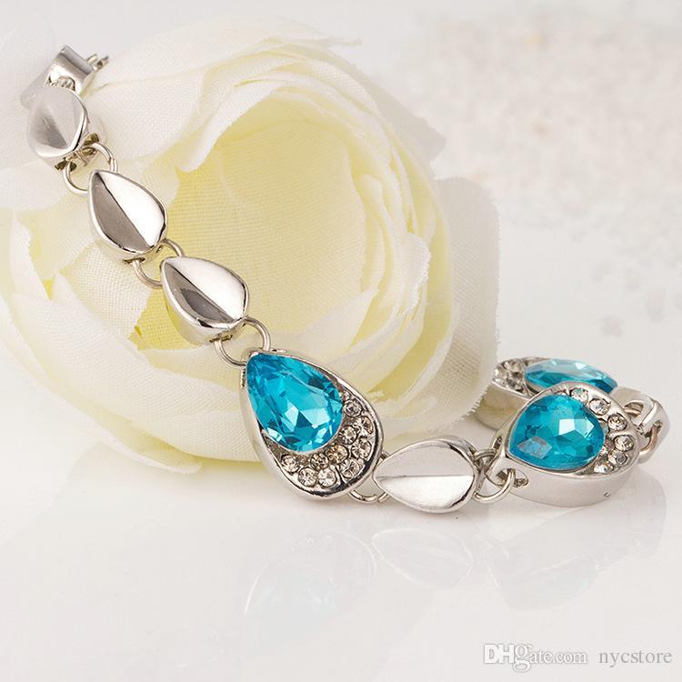 925 Silver AAA Diamond Blue Crystal Bracelet Fashion Water Drop Women's Bracelets Wedding Love Gift