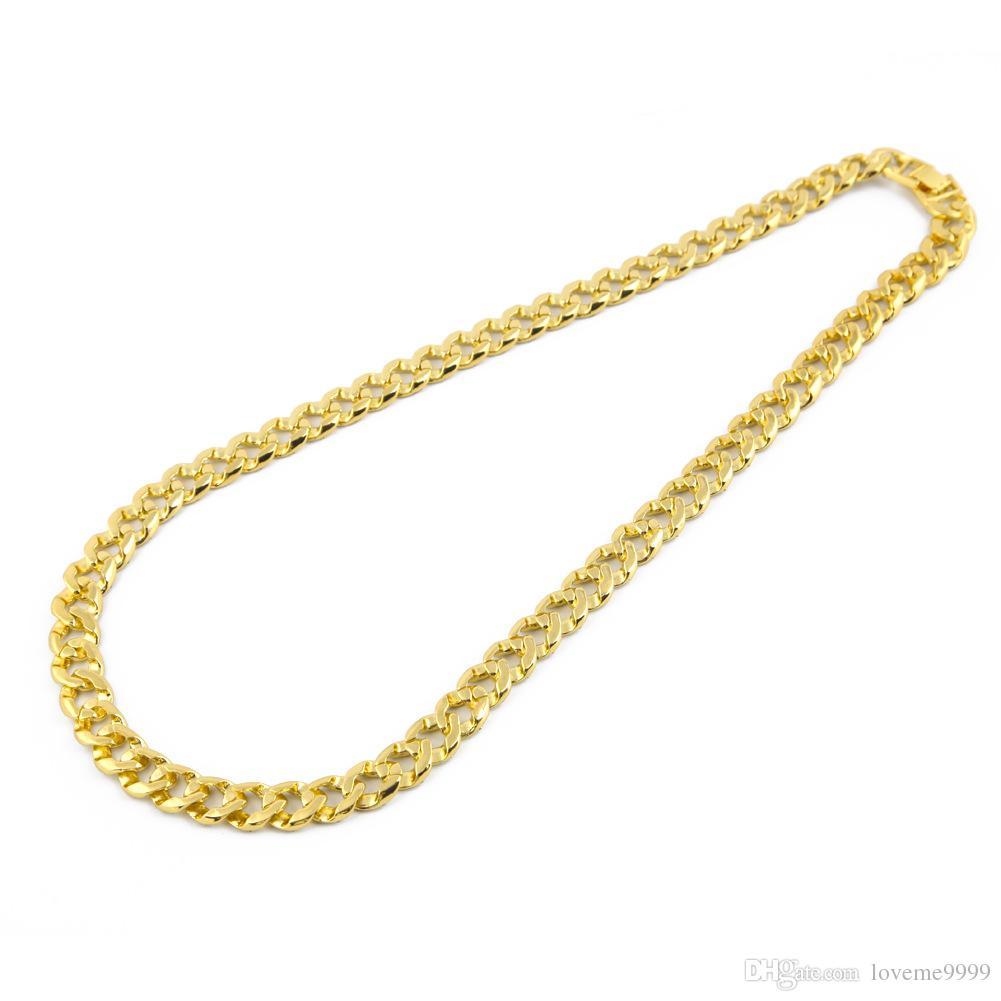 Hip Hop 18K Reales Gold überzogenes MIAMI KUBAN VEREIN Bling glänzender voller Kristallrhinestonehalsketten Mens Bling verzierte Cubra Ketten Halsketten-Schmucksachen