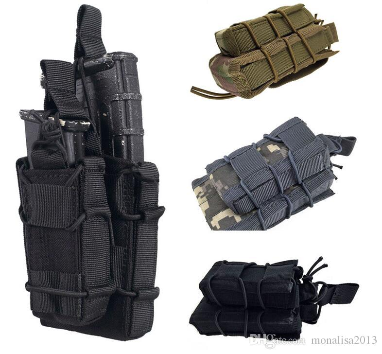 EDC MOLLE Tactical Open Top Double Decker Single Rifle Pistol Mag Pouch Magazine Bag,Outdoor Camping hiking Waist Bag Tool Pouch