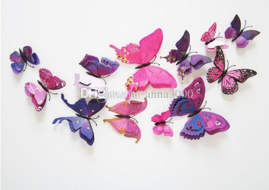 Farfalla Cenerentola Farfalla 3d decorazione adesivi murali 12pz Farfalle 3d Farfalla 3d pvc adesivi murali smontabili in stock