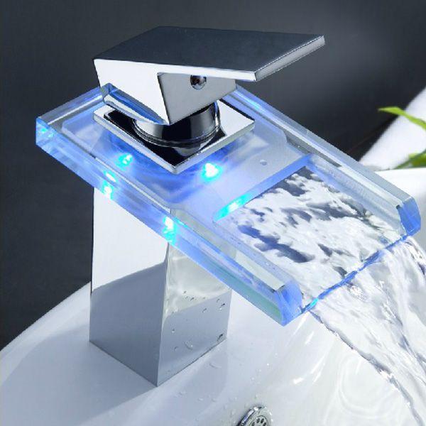 Online Cheap Led Waterfall Bathroom Faucet Digital Mixer