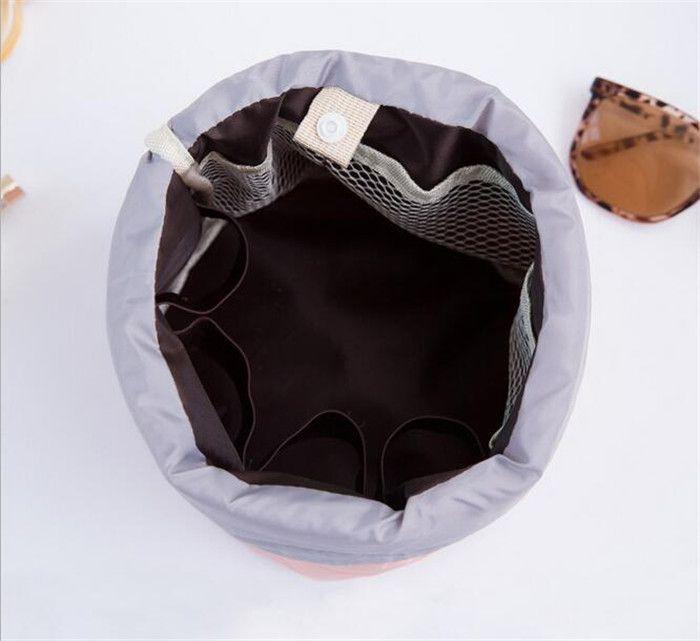 4 cores Barril Em Forma de Saco de Viagem de Nylon de Alta Capacidade Com Cordão Elegante Tambor de Lavagem Sacos Maquiagem Organizador Saco De Armazenamento A156
