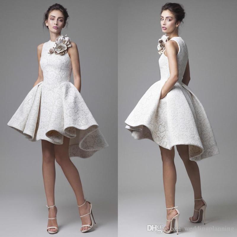 2019 Кружева Свадебные платья Krikor Jabotian Jewel рукавов высокого Низкие Свадебные платья Короткие A-Line Пляж Свадебные платья с цветами