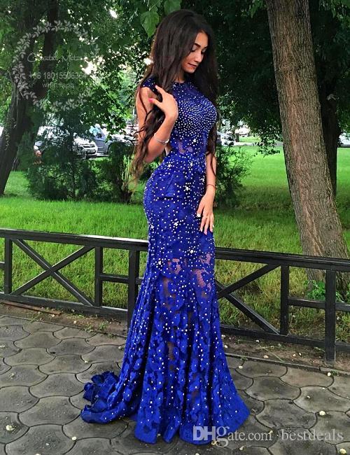 2017 Royal Blue Mermaid Dentelle Robes De Bal pour Filles Brillant Perlé Cristal Dos Ouvert Graduation Dress Longue Soirée Robes De Soirée