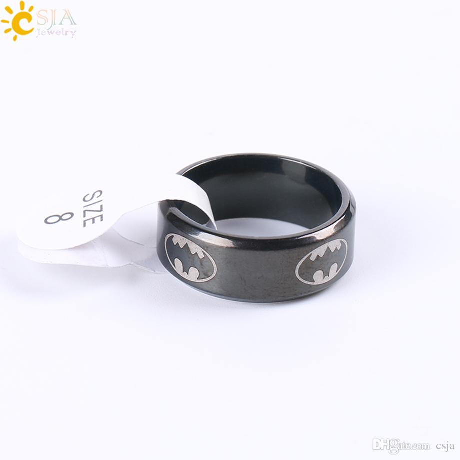CSJA Classic Design Polished Black Titanium Steel Stainless Superhero Batman Symbol Finger Band Rings Jewelry Men Women Sizes Available E677