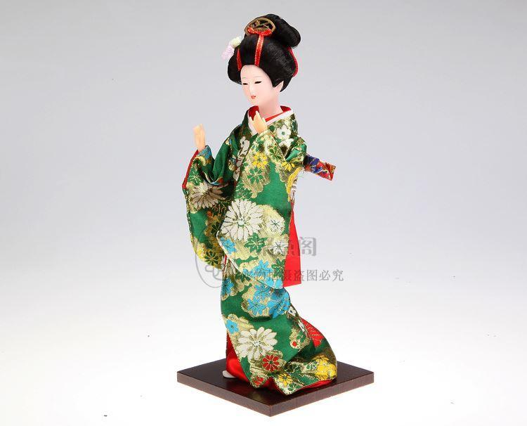 Bez bebek Japon kimono bebek el yapımı Heykelcik insan geyşa ipek bebek